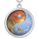 Fire and Water Yin and Yang Symbol Necklaces