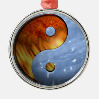 Fire and Water Yin and Yang Symbol Silver-Colored Round Decoration