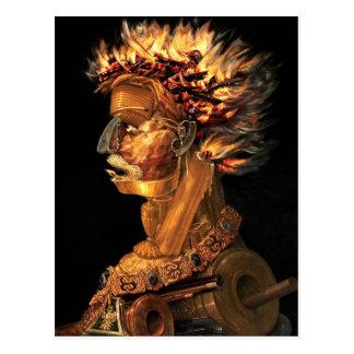 Fire - Arcimboldo's bizarre head profile Postcard