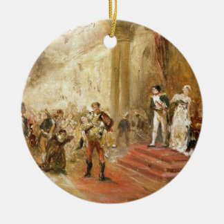 Fire at the Austrian Embassy (oil on canvas) Round Ceramic Decoration
