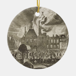 Fire at the old Amsterdam Town Hall, 17th July 165 Round Ceramic Decoration