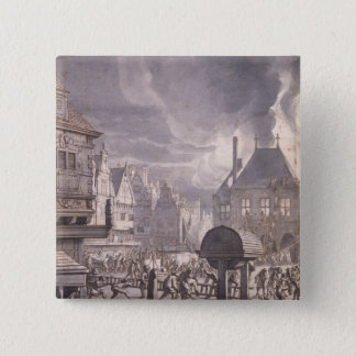 Fire at the Old Town Hall in Amsterdam 15 Cm Square Badge