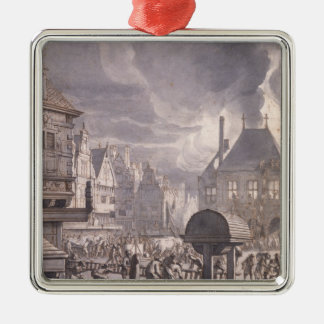 Fire at the Old Town Hall in Amsterdam Silver-Colored Square Decoration