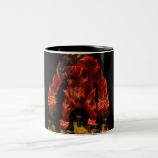 fire beast Two-Tone coffee mug