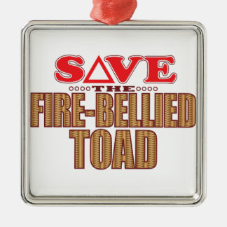 Fire-Bellied Toad Save Silver-Colored Square Decoration