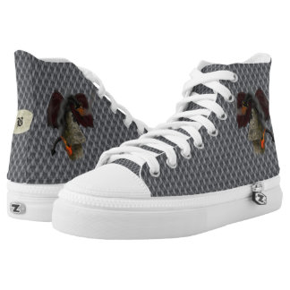 Fire-Breathing Dragon Chainmail Monogram High-Tops Printed Shoes