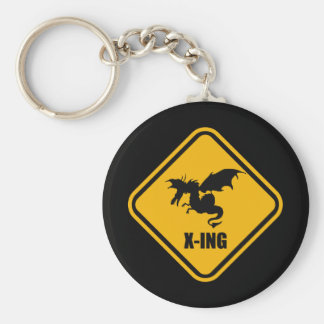 Fire Breathing Dragon Crossing Street Sign Basic Round Button Key Ring