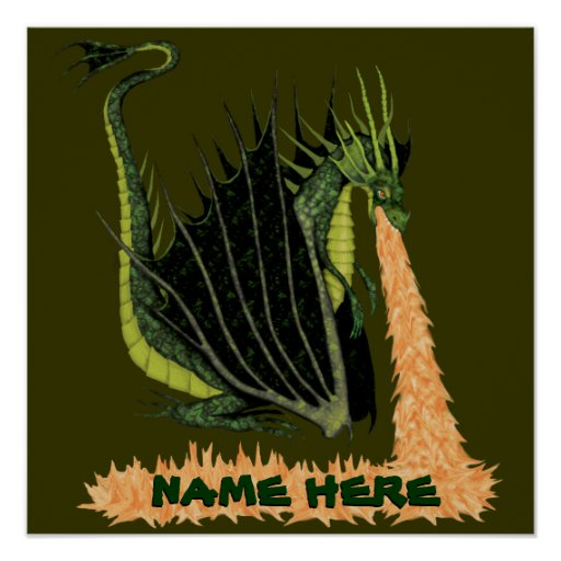 Fire Breathing Dragon (Name on Fire) Print