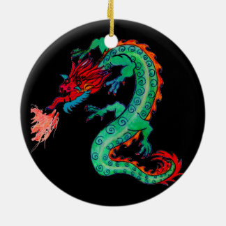 Fire Breathing Dragon on Holiday Ornament