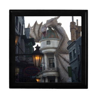 Fire breathing Dragon protecting wizard's bank Large Square Gift Box