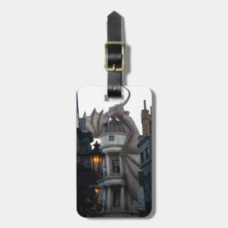 Fire breathing Dragon protecting wizard's bank Luggage Tag