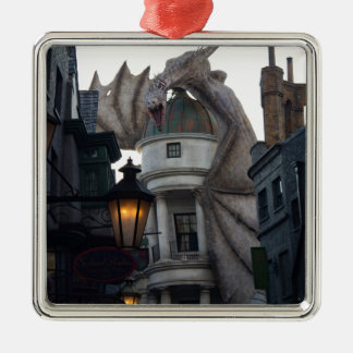 Fire breathing Dragon protecting wizard's bank Silver-Colored Square Decoration