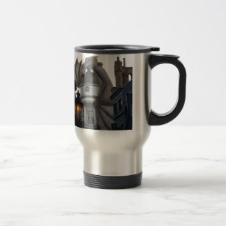Fire breathing Dragon protecting wizard's bank Travel Mug