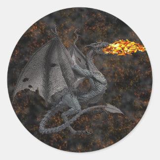 Fire-Breathing Dragon Round Sticker