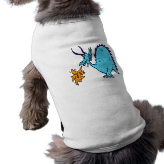 Fire Breathing Dragon Teal png Dog Shirt