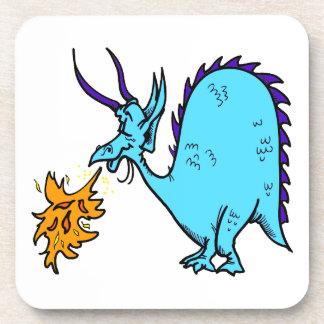 Fire Breathing Dragon Teal png Drink Coaster
