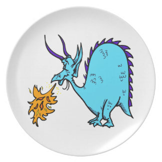 Fire Breathing Dragon Teal.png Party Plates