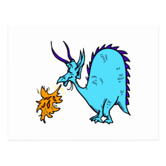 Fire Breathing Dragon Teal.png Postcard
