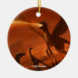 Fire-Breathing Prehistoric Dinosaur by Jake Murray Christmas Ornament