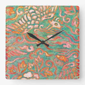 Fire-Breathing Southwest Desert Dragons Square Wall Clock