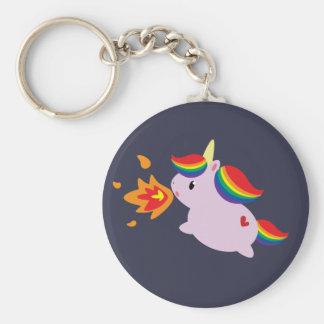 Fire-Breathing Unicorn Basic Round Button Key Ring