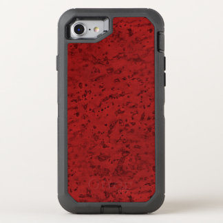 Fire Brick Red Cork Look Wood Grain OtterBox Defender iPhone 8/7 Case