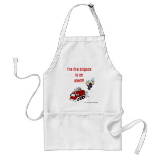 Fire brigade on alert. funny humor bbq cooking standard apron