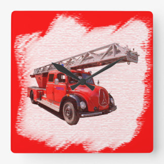 Fire-brigade turntable ladder car square wall clock
