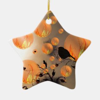 Fire Bubbles Star Ceramic Star Decoration