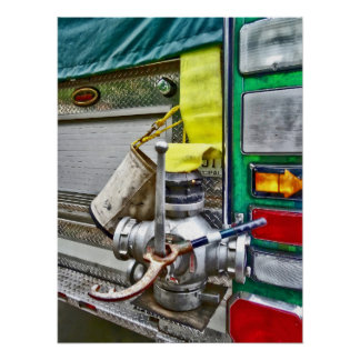Fire Bucket and Yellow Fire Hose Poster