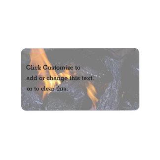 Fire Burning Wood Address Label