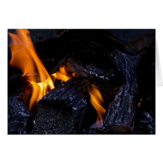 Fire Burning Wood Greeting Card