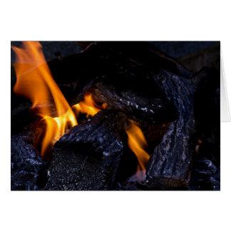 Fire Burning Wood Greeting Card