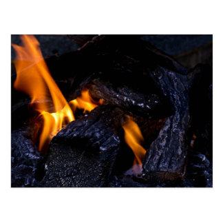 Fire Burning Wood Postcard