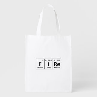 FIRe Chemistry Periodic Table Element Symbol Words Reusable Grocery Bag