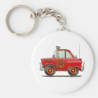 Fire Chief Car Firefighter Fireman Basic Round Button Key Ring