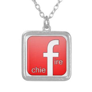 Fire Chief Facebook Logo Unique Gift Square Pendant Necklace