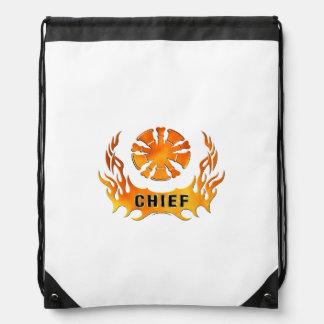 Fire Chief Flames Drawstring Bag