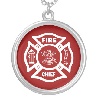 Fire Chief Round Pendant Necklace
