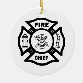 Fire Chief Round Ceramic Decoration