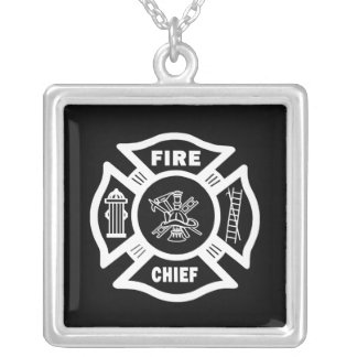 Fire Chief Square Pendant Necklace