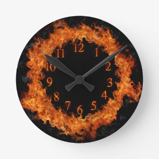 Fire Clock Firey Flames Wall Clock
