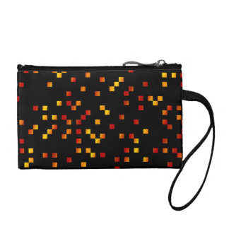 Fire Colors, Square Dots on Black. Coin Purse
