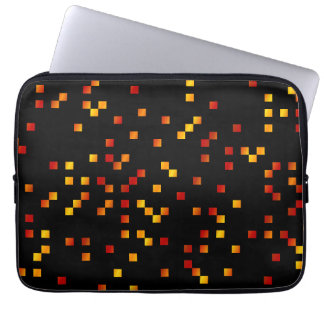 Fire Colors, Square Dots on Black. Laptop Sleeve