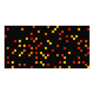 Fire Colors, Square Dots on Black. Photo Card Template