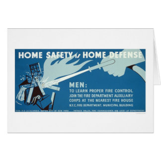 Fire Control Safety NYC 1942 WPA Greeting Card