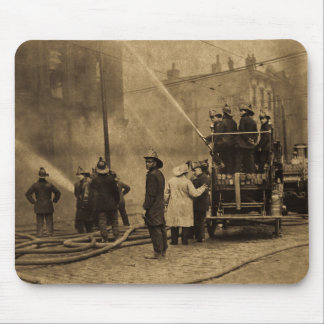 Fire Crew in Action - Vintage Mouse Mat