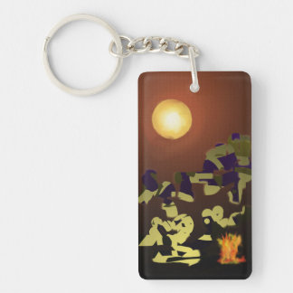 Fire Dance Abstract Design Single-Sided Rectangular Acrylic Key Ring