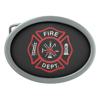Fire Department Badge Red Belt Buckles