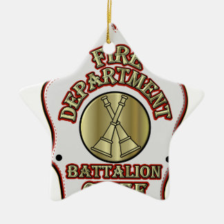 Fire Department Battalion Chief Shield Design Christmas Ornament